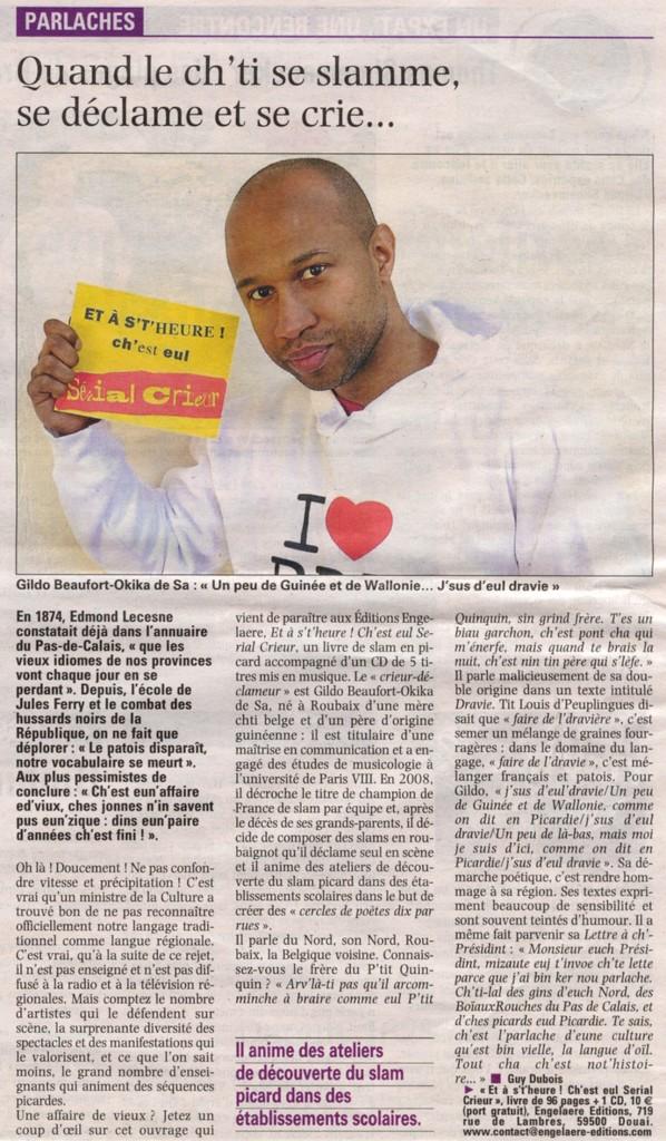 Article de Guy Dubois dans la Voix du Nord du 3 juin 2012